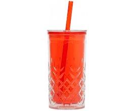 ALADDIN Plastový pohár s brčkem 470ml červený
