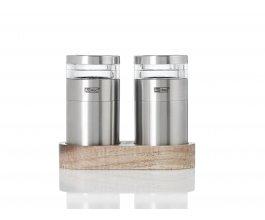 AdHoc Set mlýnků na sůl a pepř MOLTO s podložkou, keramický mlýnek CeraCut®, akácie/akrylát/nerezová ocel