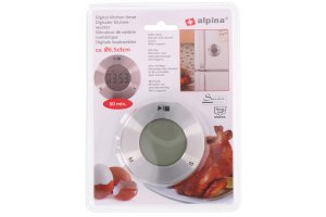 ALPINA Digitální kuchyňská minutka s hodinami nerez