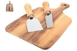 GUSTA Servírovací podnos z akácie se 2 noži na sýr