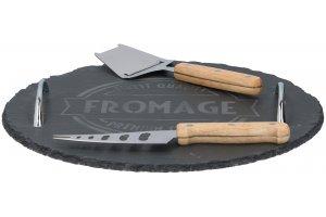ALPINA set na sýry s náčiním břidlice nůž a plátkovač průměr 30 cm