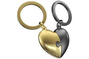 MTM klíčenka srdce puzzle zlato & hnědá