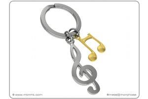MTM Klíčenka houslový klíč se zlatou notou